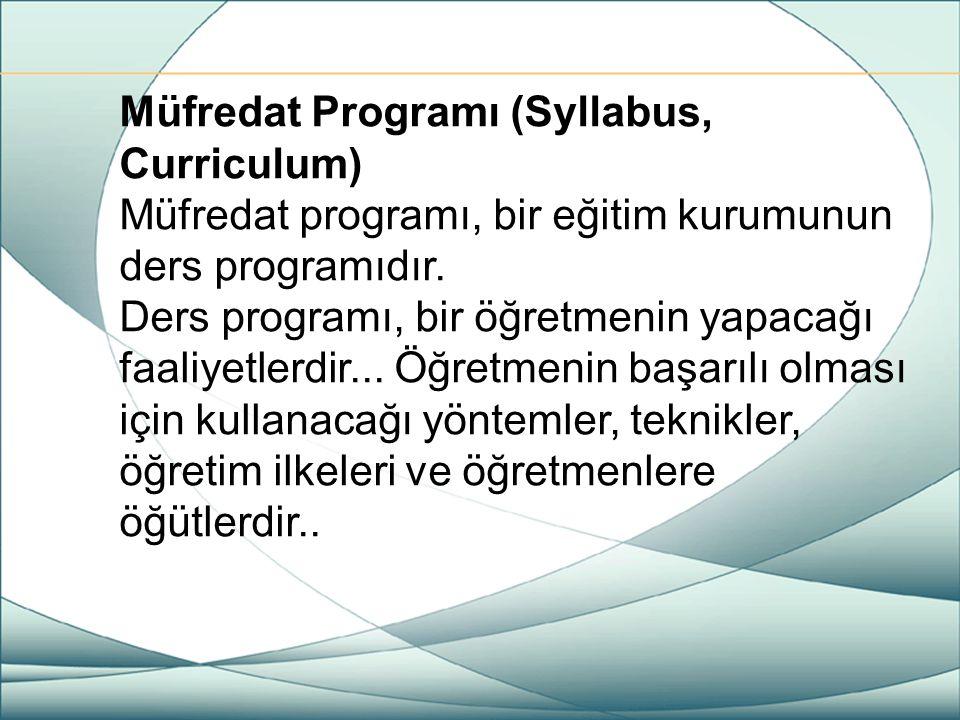 Müfredat Programı (Syllabus, Curriculum)