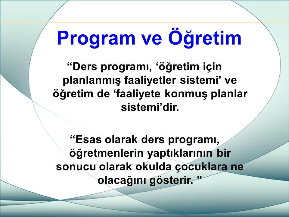 Program ve Öğretim Ders programı, 'öğretim için planlanmış faaliyetler sistemi ve öğretim de 'faaliyete konmuş planlar sistemi'dir.