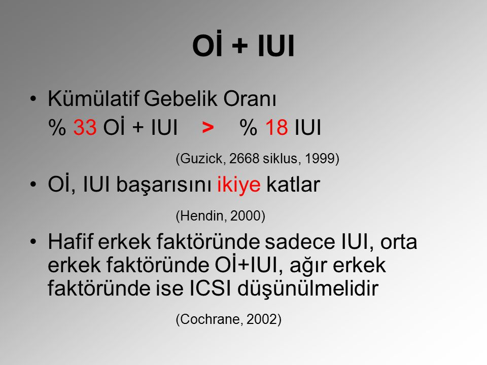 Oİ + IUI Kümülatif Gebelik Oranı % 33 Oİ + IUI > % 18 IUI