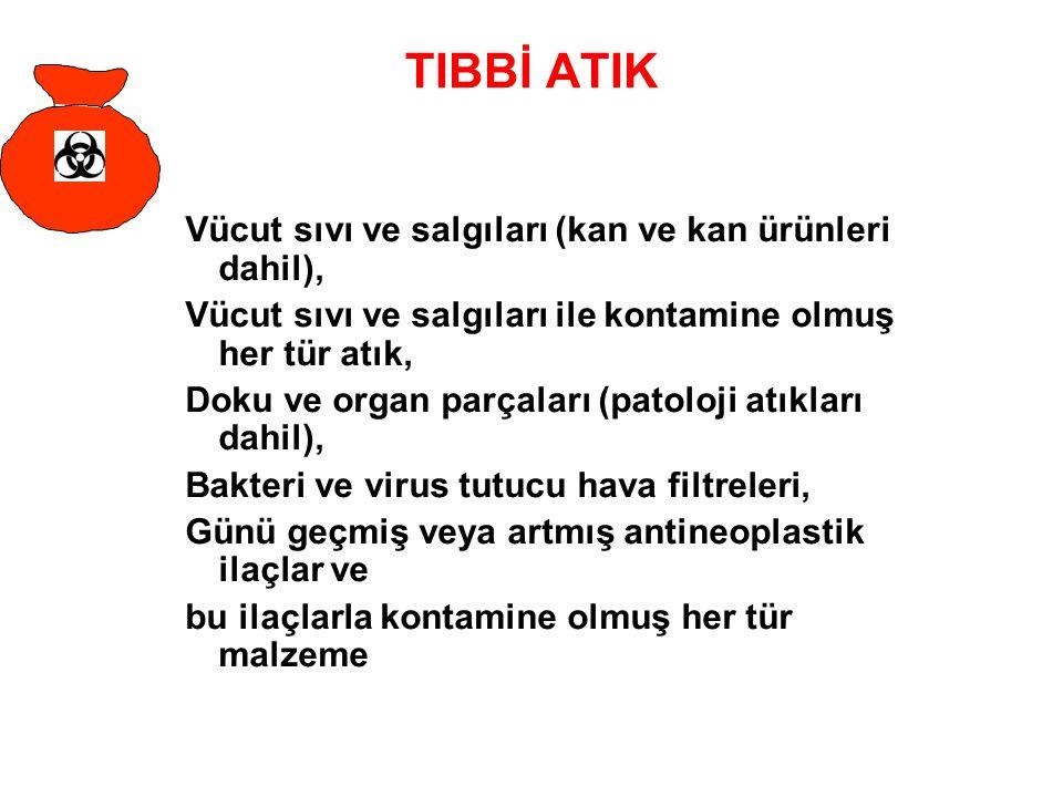 TIBBİ ATIK Vücut sıvı ve salgıları (kan ve kan ürünleri dahil),