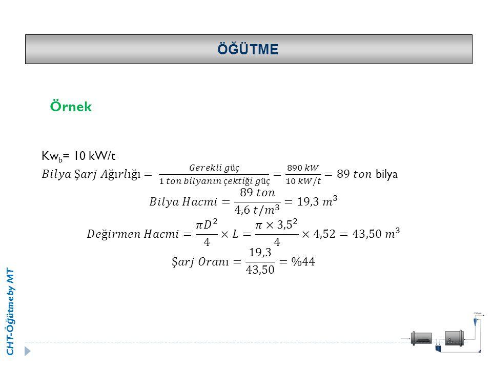 ÖĞÜTME Örnek. Kwb= 10 kW/t. 𝐵𝑖𝑙𝑦𝑎 Ş𝑎𝑟𝑗 𝐴ğı𝑟𝑙ığı= 𝐺𝑒𝑟𝑒𝑘𝑙𝑖 𝑔üç 1 𝑡𝑜𝑛 𝑏𝑖𝑙𝑦𝑎𝑛𝚤𝑛 ç𝑒𝑘𝑡𝑖ğ𝑖 𝑔üç = 890 𝑘𝑊 10 𝑘𝑊/𝑡 =89 𝑡𝑜𝑛 bilya.