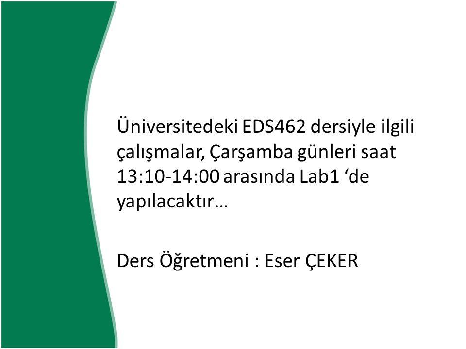 Üniversitedeki EDS462 dersiyle ilgili çalışmalar, Çarşamba günleri saat 13:10-14:00 arasında Lab1 'de yapılacaktır…