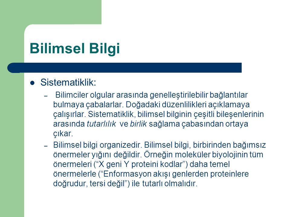 Bilimsel Bilgi Sistematiklik: