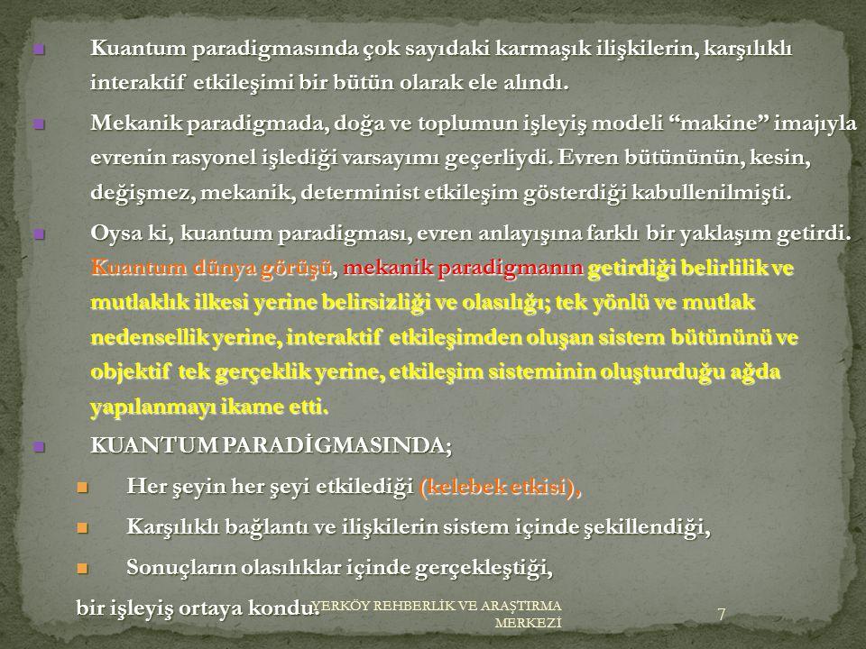 KUANTUM PARADİGMASINDA;