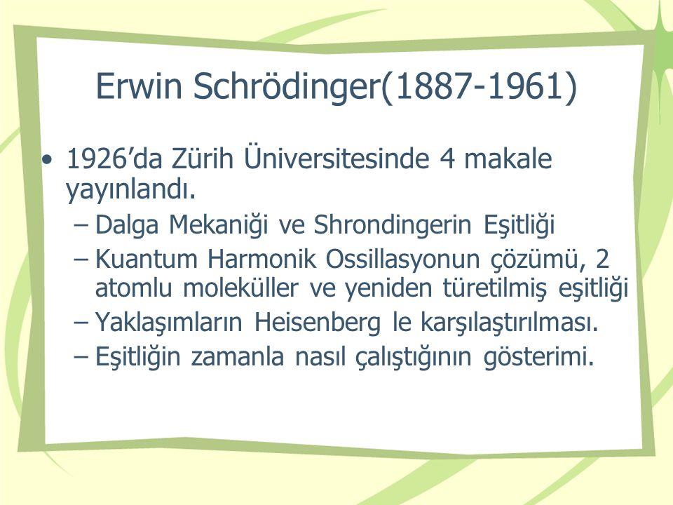 Erwin Schrödinger(1887-1961) 1926'da Zürih Üniversitesinde 4 makale yayınlandı. Dalga Mekaniği ve Shrondingerin Eşitliği.