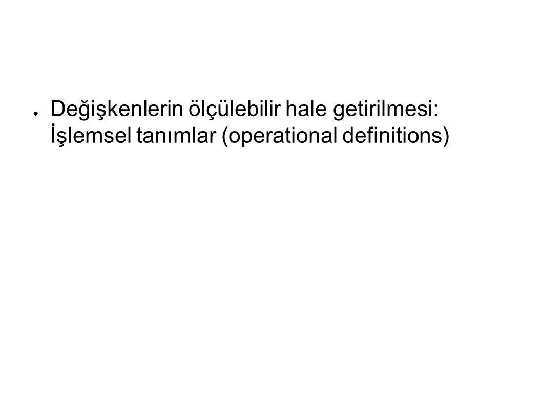 Değişkenlerin ölçülebilir hale getirilmesi: İşlemsel tanımlar (operational definitions)