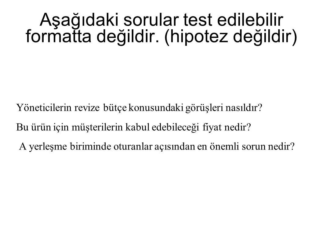 Aşağıdaki sorular test edilebilir formatta değildir. (hipotez değildir)