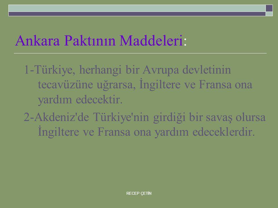 Ankara Paktının Maddeleri: