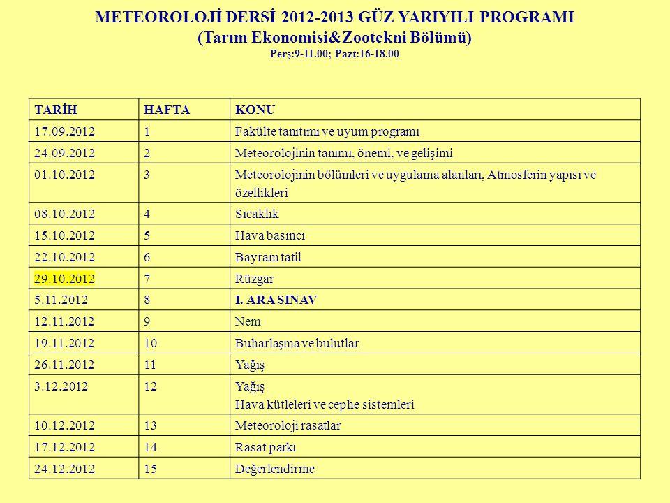 METEOROLOJİ DERSİ 2012-2013 GÜZ YARIYILI PROGRAMI