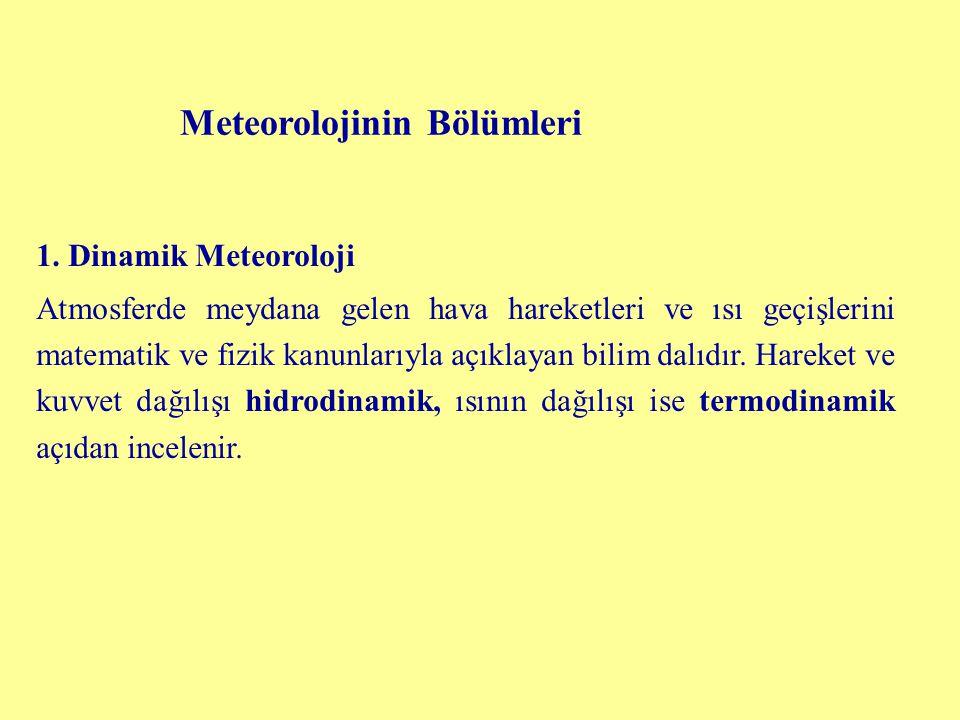 Meteorolojinin Bölümleri