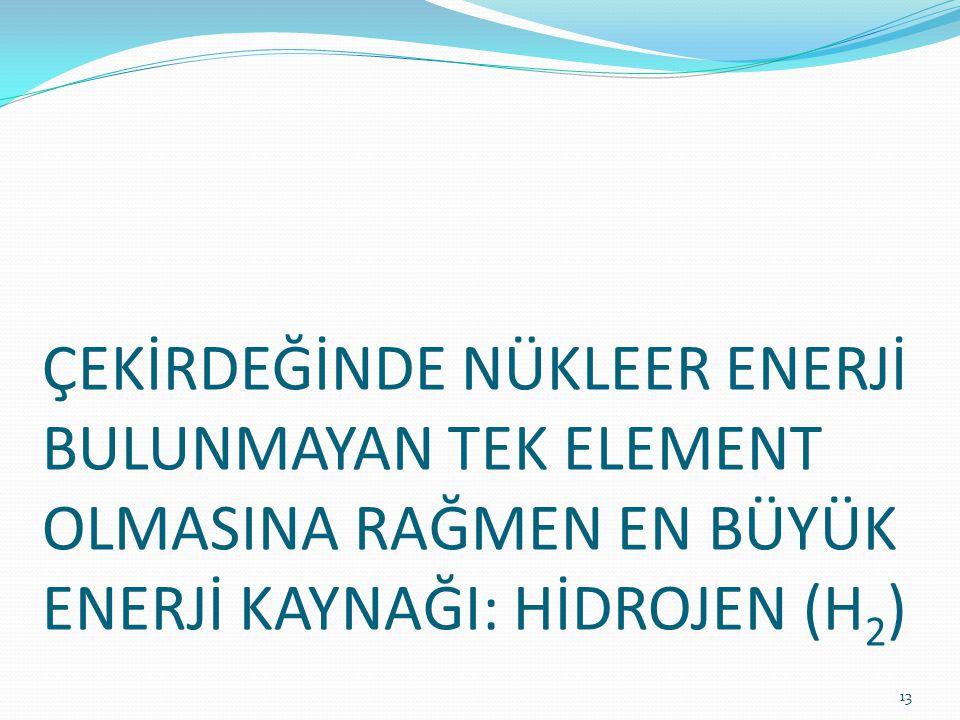 ÇEKİRDEĞİNDE NÜKLEER ENERJİ BULUNMAYAN TEK ELEMENT OLMASINA RAĞMEN EN BÜYÜK ENERJİ KAYNAĞI: HİDROJEN (H2)