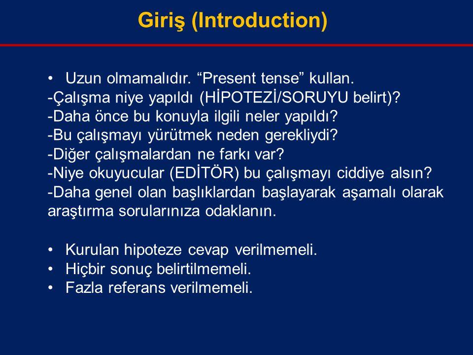 Giriş (Introduction) Uzun olmamalıdır. Present tense kullan.