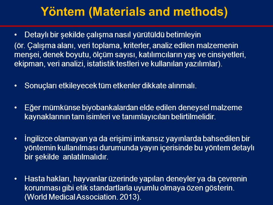 Yöntem (Materials and methods)