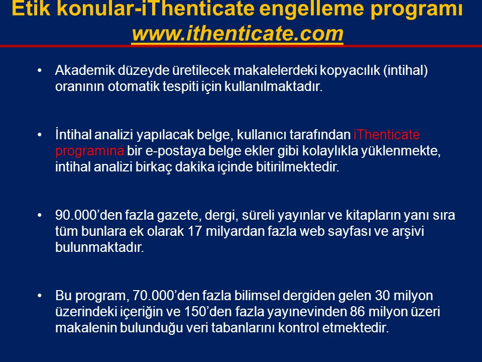 Etik konular-iThenticate engelleme programı