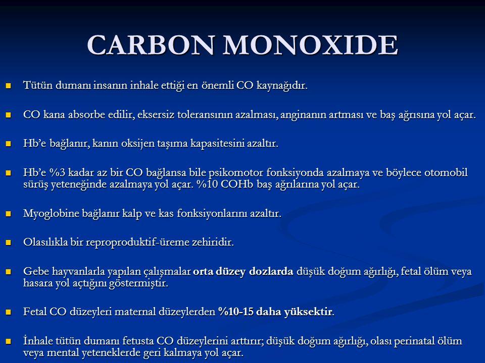 CARBON MONOXIDE Tütün dumanı insanın inhale ettiği en önemli CO kaynağıdır.