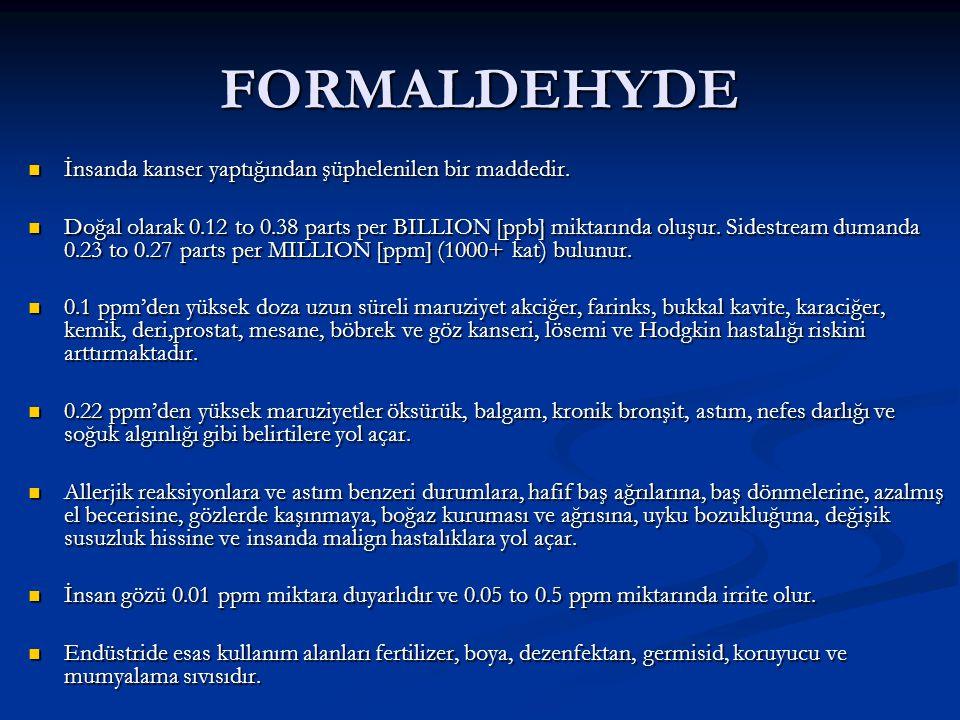 FORMALDEHYDE İnsanda kanser yaptığından şüphelenilen bir maddedir.