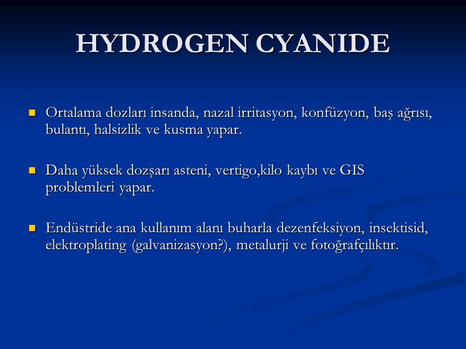 HYDROGEN CYANIDE Ortalama dozları insanda, nazal irritasyon, konfüzyon, baş ağrısı, bulantı, halsizlik ve kusma yapar.