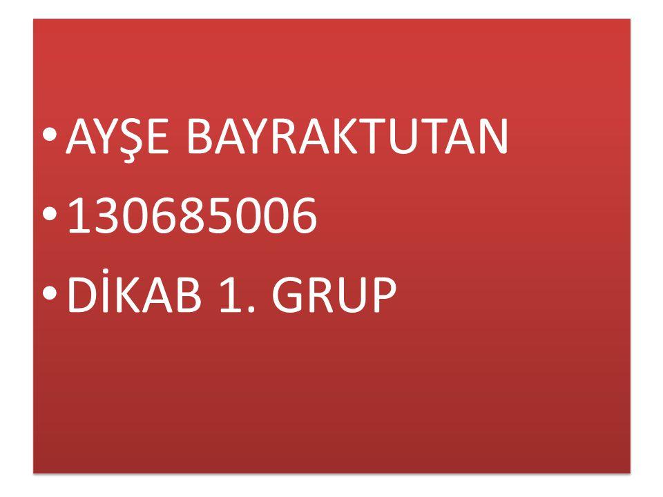 AYŞE BAYRAKTUTAN 130685006 DİKAB 1. GRUP
