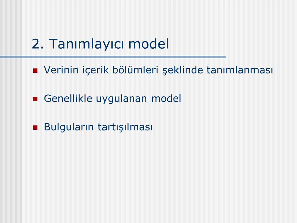 2. Tanımlayıcı model Verinin içerik bölümleri şeklinde tanımlanması