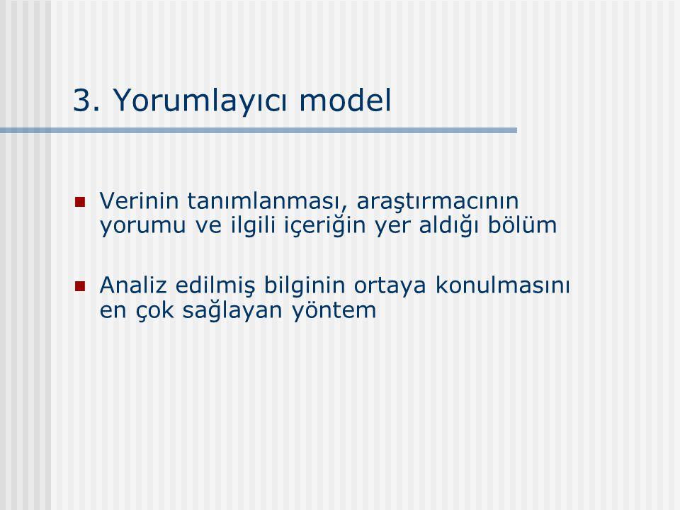 3. Yorumlayıcı model Verinin tanımlanması, araştırmacının yorumu ve ilgili içeriğin yer aldığı bölüm.