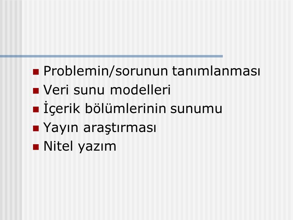 Problemin/sorunun tanımlanması