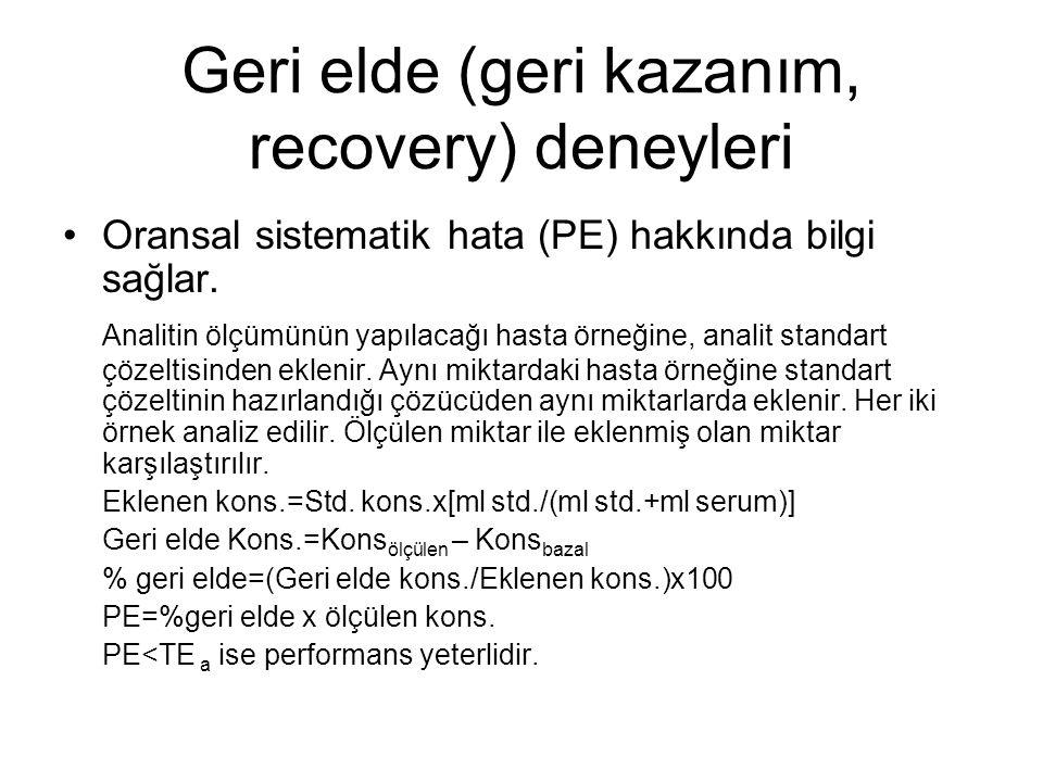 Geri elde (geri kazanım, recovery) deneyleri