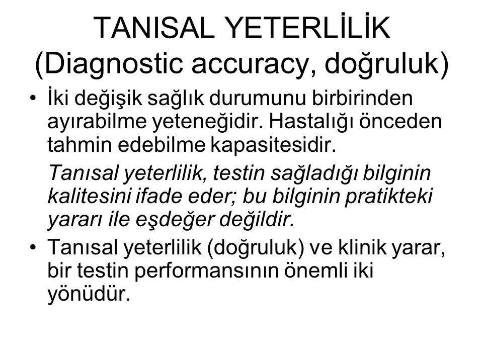 TANISAL YETERLİLİK (Diagnostic accuracy, doğruluk)
