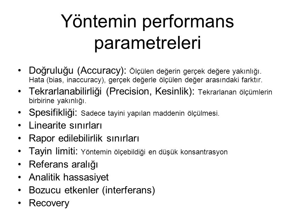 Yöntemin performans parametreleri