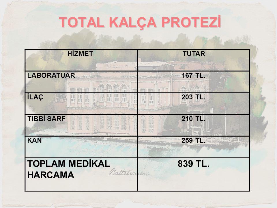 TOTAL KALÇA PROTEZİ TOPLAM MEDİKAL HARCAMA 839 TL. HİZMET TUTAR