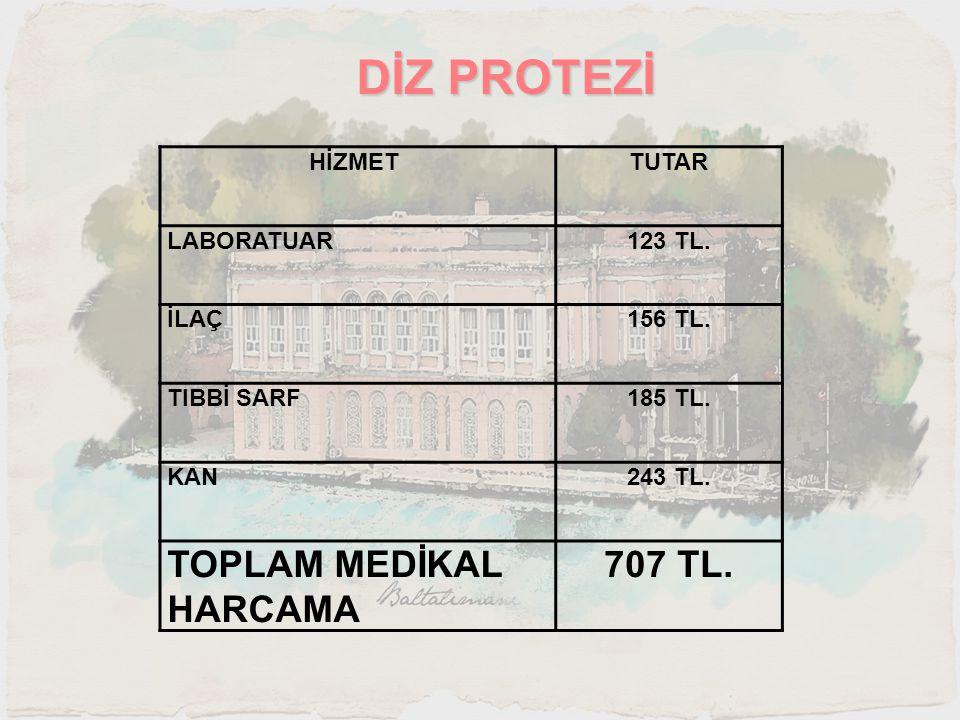 DİZ PROTEZİ TOPLAM MEDİKAL HARCAMA 707 TL. HİZMET TUTAR LABORATUAR