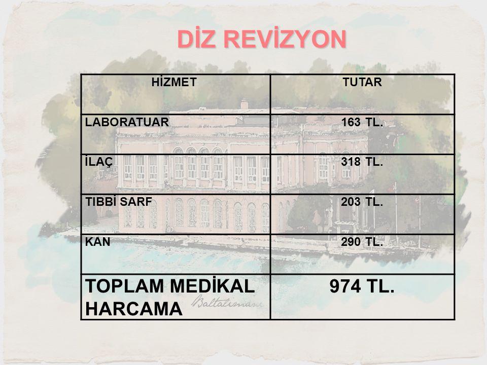 DİZ REVİZYON TOPLAM MEDİKAL HARCAMA 974 TL. HİZMET TUTAR LABORATUAR