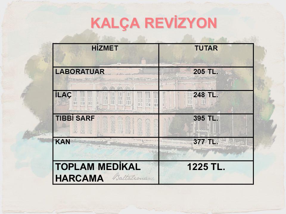 KALÇA REVİZYON TOPLAM MEDİKAL HARCAMA 1225 TL. HİZMET TUTAR LABORATUAR