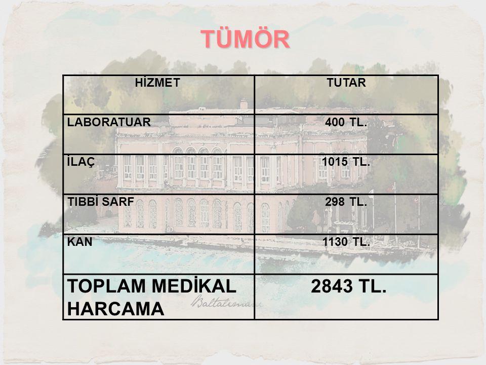 TÜMÖR TOPLAM MEDİKAL HARCAMA 2843 TL. HİZMET TUTAR LABORATUAR 400 TL.