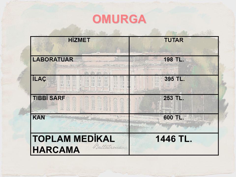 OMURGA TOPLAM MEDİKAL HARCAMA 1446 TL. HİZMET TUTAR LABORATUAR 198 TL.
