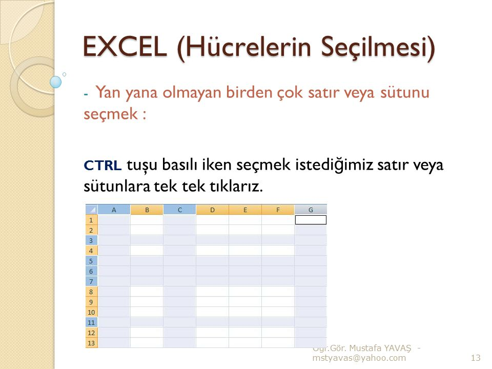EXCEL (Hücrelerin Seçilmesi)