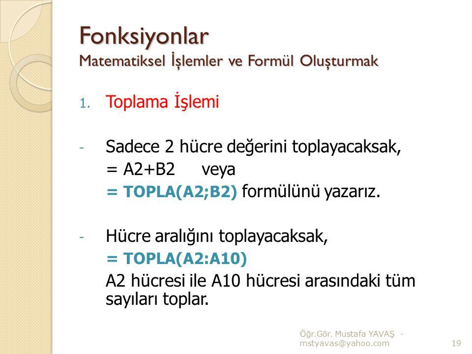 Fonksiyonlar Matematiksel İşlemler ve Formül Oluşturmak