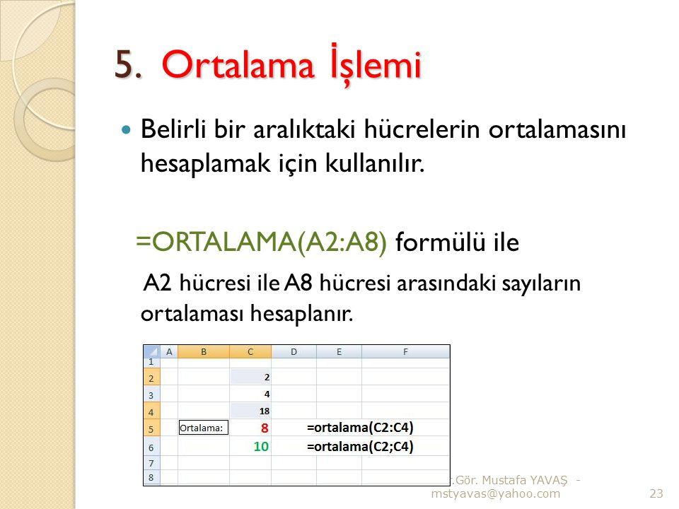 5. Ortalama İşlemi Belirli bir aralıktaki hücrelerin ortalamasını hesaplamak için kullanılır. =ORTALAMA(A2:A8) formülü ile.