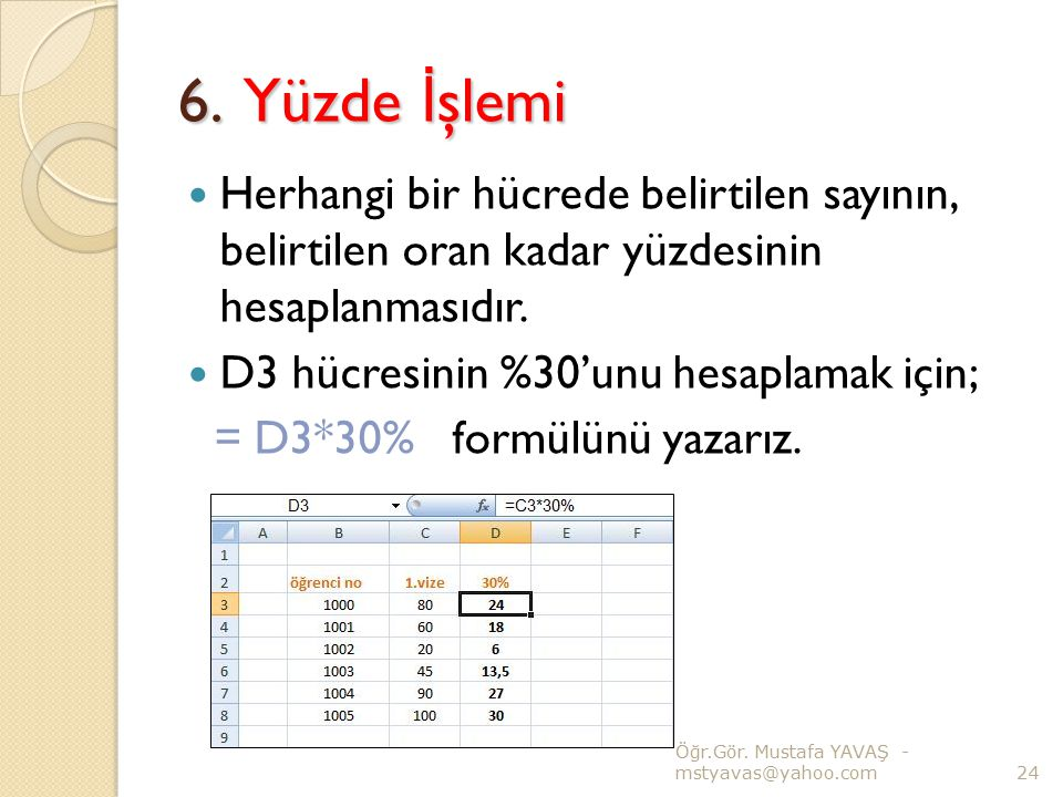 6. Yüzde İşlemi Herhangi bir hücrede belirtilen sayının, belirtilen oran kadar yüzdesinin hesaplanmasıdır.