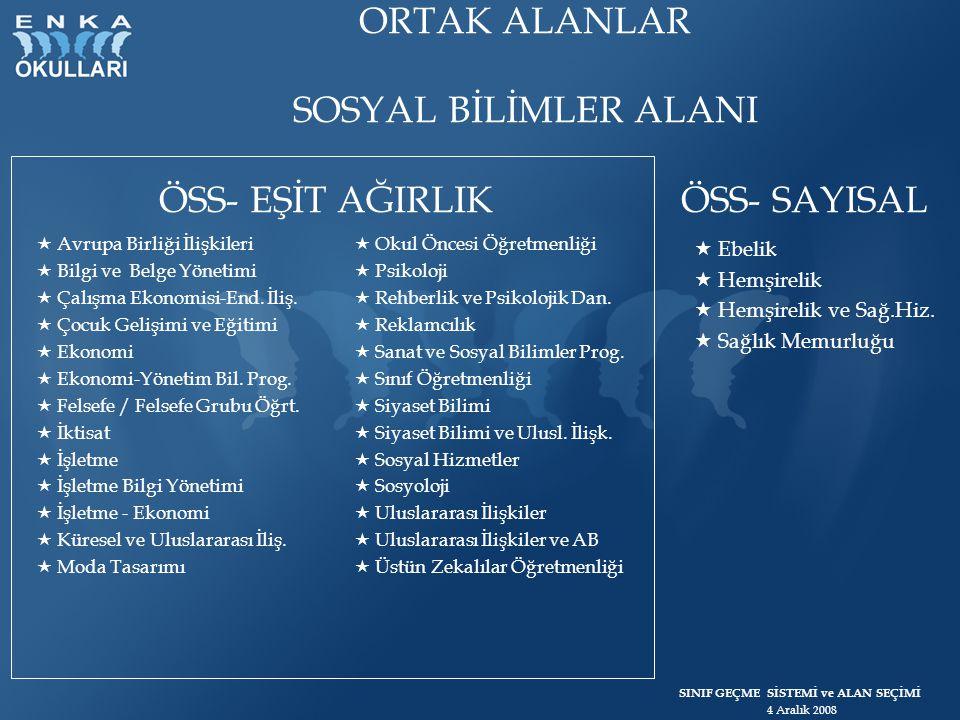 ORTAK ALANLAR SOSYAL BİLİMLER ALANI ÖSS- EŞİT AĞIRLIK ÖSS- SAYISAL