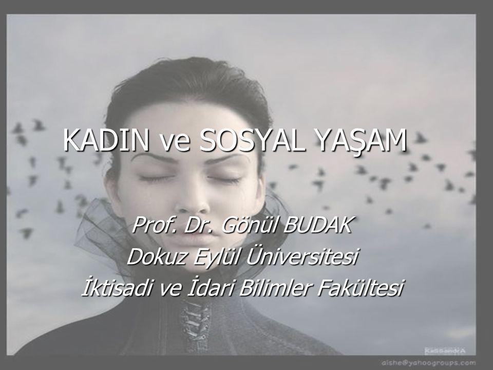 KADIN ve SOSYAL YAŞAM Prof. Dr. Gönül BUDAK Dokuz Eylül Üniversitesi
