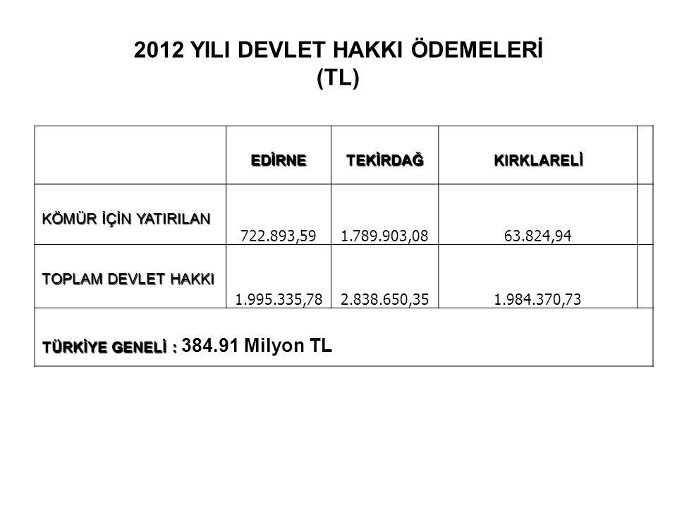2012 YILI DEVLET HAKKI ÖDEMELERİ (TL)