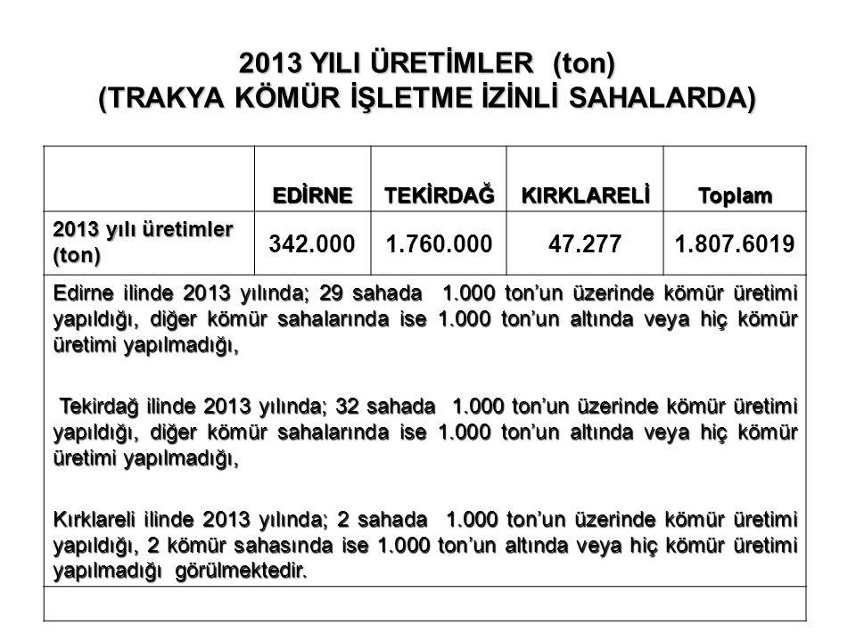 2013 YILI ÜRETİMLER (ton) (TRAKYA KÖMÜR İŞLETME İZİNLİ SAHALARDA)