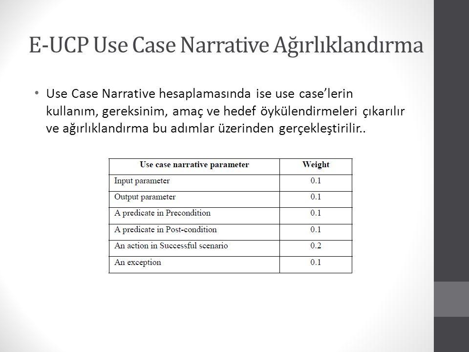 E-UCP Use Case Narrative Ağırlıklandırma