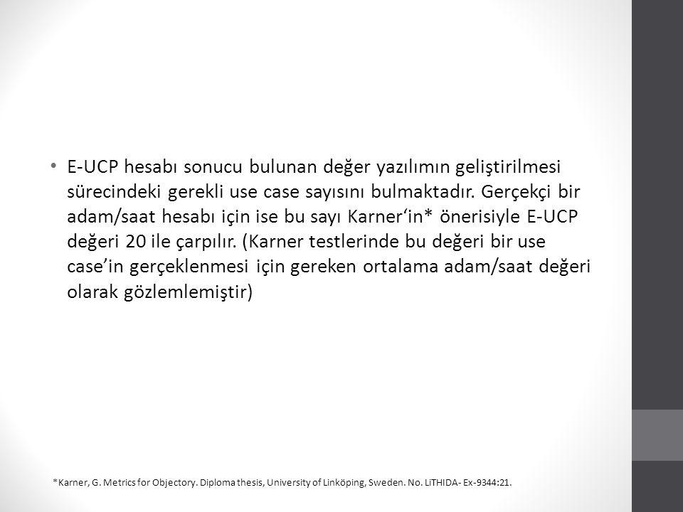 E-UCP hesabı sonucu bulunan değer yazılımın geliştirilmesi sürecindeki gerekli use case sayısını bulmaktadır. Gerçekçi bir adam/saat hesabı için ise bu sayı Karner'in* önerisiyle E-UCP değeri 20 ile çarpılır. (Karner testlerinde bu değeri bir use case'in gerçeklenmesi için gereken ortalama adam/saat değeri olarak gözlemlemiştir)