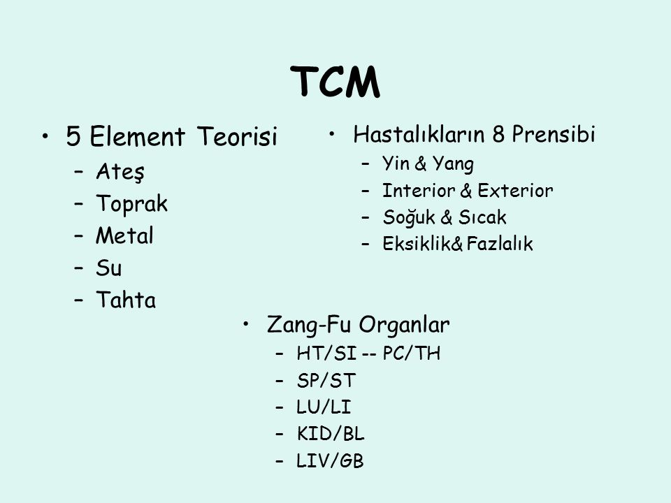 TCM 5 Element Teorisi Hastalıkların 8 Prensibi Ateş Toprak Metal Su
