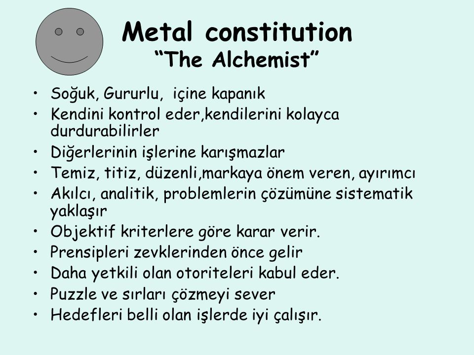 Metal constitution The Alchemist