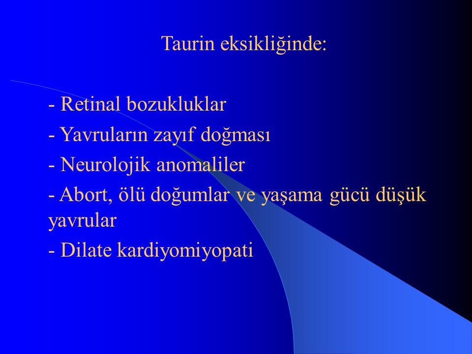 Taurin eksikliğinde: Retinal bozukluklar. Yavruların zayıf doğması. Neurolojik anomaliler. Abort, ölü doğumlar ve yaşama gücü düşük yavrular.