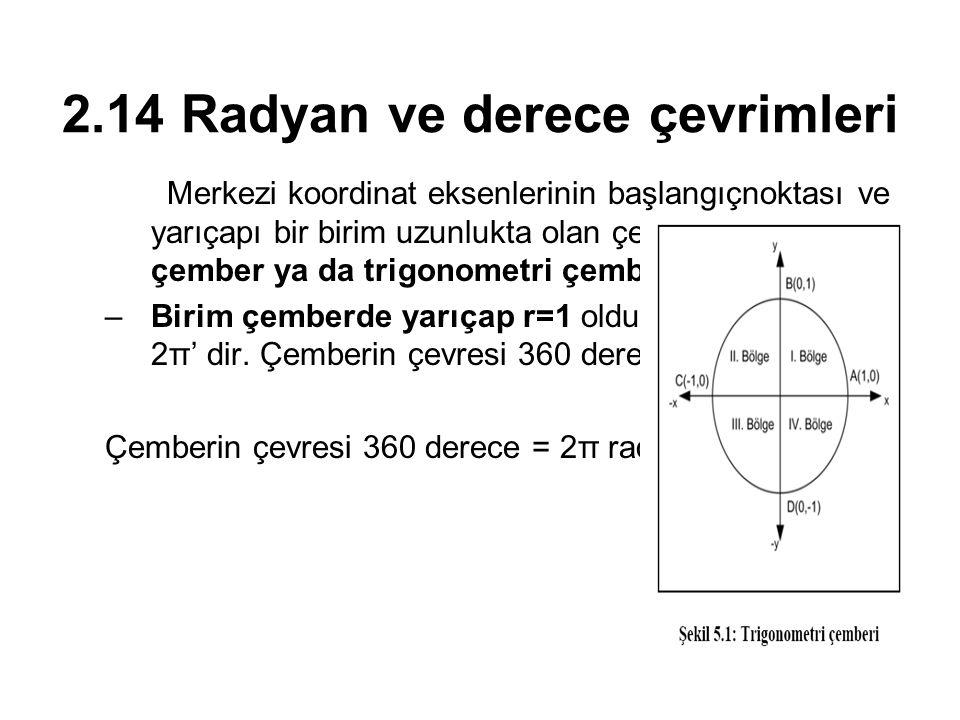 2.14 Radyan ve derece çevrimleri