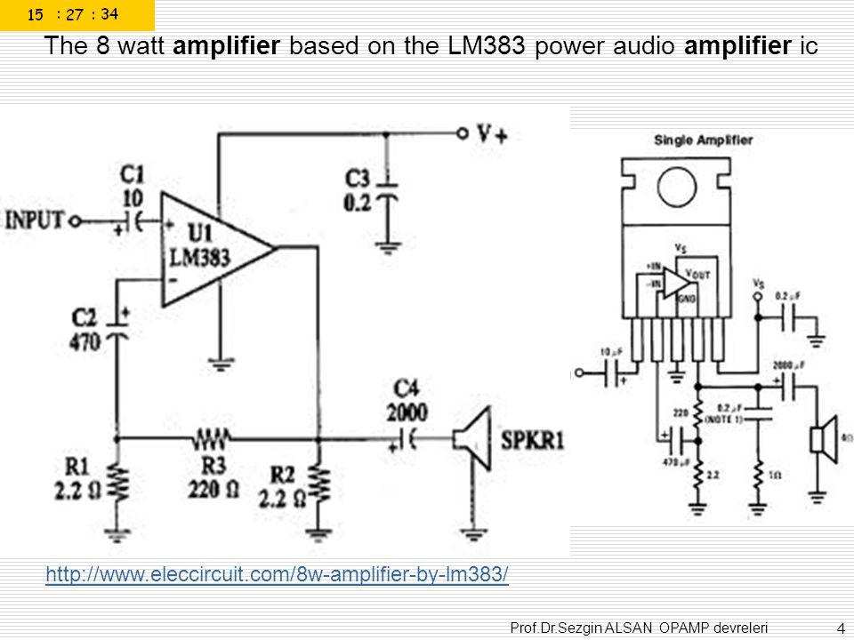 The 8 watt amplifier based on the LM383 power audio amplifier ic