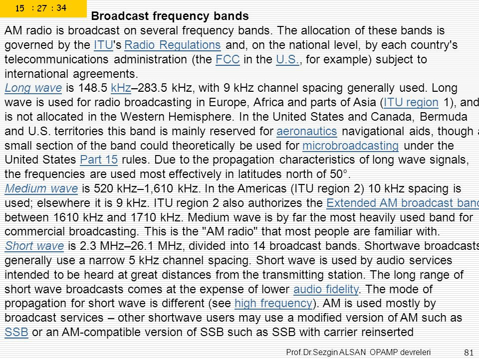 Broadcast frequency bands